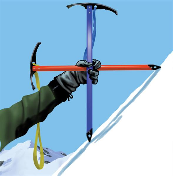 <strong>Figure 2.</strong> Using ice axes to measure slope angle. when both spikes touch the snow as shown, the slope is 45 degrees.