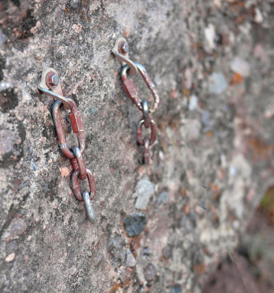 Anchors on a rock climb.