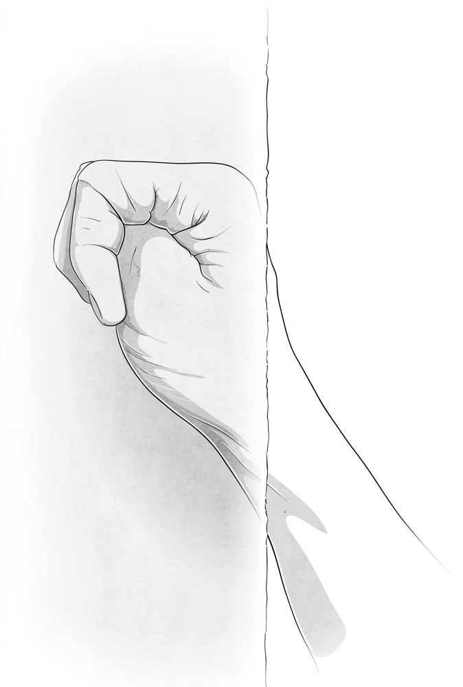 Fist jam with thumb tucked. For wider fist jams, keep your thumb outside.