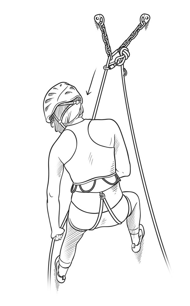 how to rappell with a coreshot rope step 2