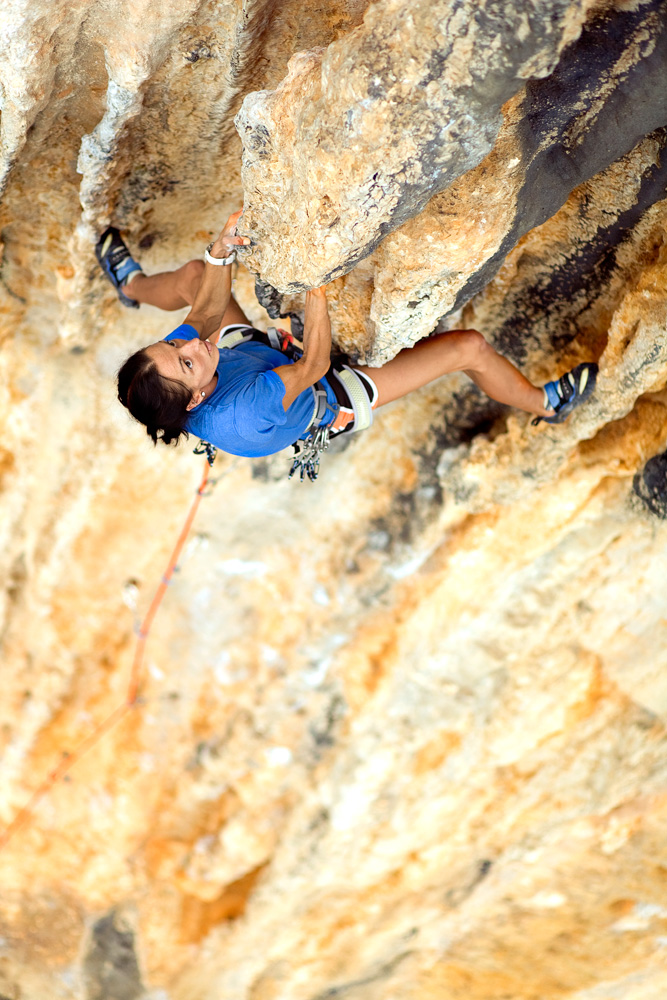 Jenn Walsh  on Buf! (5.11d) at the excellent sport crag Allaro.
