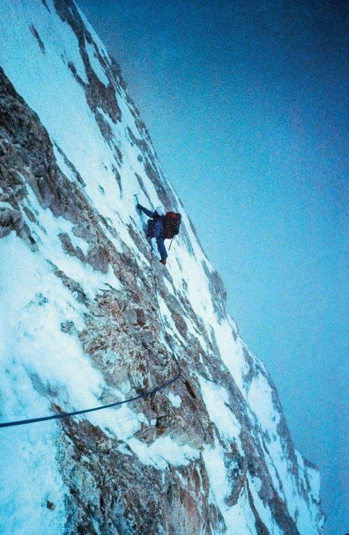 Voytek climbing high on the West Face of Gasherbrum IV. Photo: Robert Schauer / Voytek Kurtyka collection.