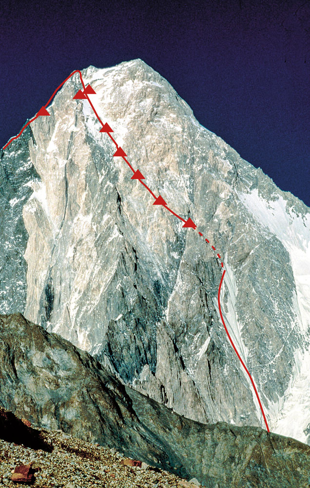 Gasherbrum IV (7,932 meters), Karakoram, Pakistan. New route on the West Face (to ridge); 10-day alpine-style ascent by Kurtyka and Schauer in 1985. Photo: Voytek Kurtyka collection / Piotr Drozdz.