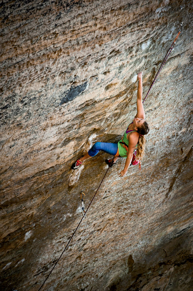 Michaela Kiersch on the first female ascent of <em>The Golden Ticket</em> (5.14c), Red River Gorge, Kentucky. Photo: Andy Wickstrom.