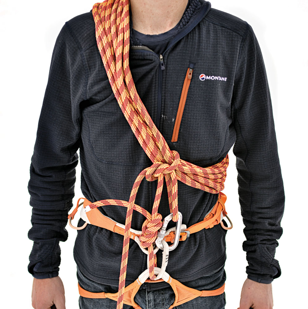 A Mountaineer's Coil or a Kiwi Coil are great methods for shortening the rope on the fly, when you need to remain roped up on easy but loose terrain where slack rope can snag or drag loose rock off.
