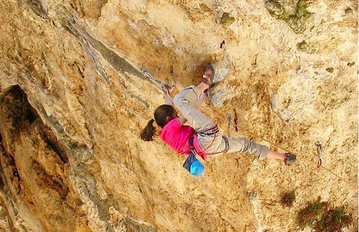 Laura Rogora on La Gasparata, 5.14d/15a, Collepardo, Italy. Photo: Domenico Intorre