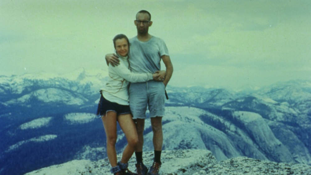 Royal and Liz at the top of Half Dome in June 1967 after Liz became the world's first woman to climb it, on the 10th anniversary of the first ascent of the wall by Royal. Photo: Unknown Tourist.