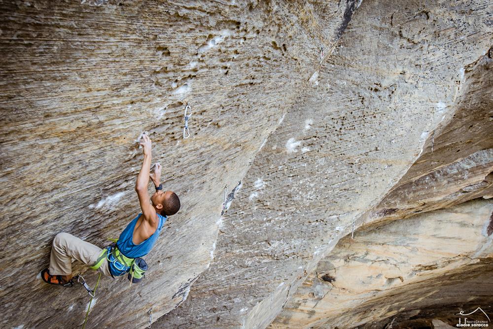 Kai Lightner making quick work of <em>Lucifer</em> (5.14c) in the Red River Gorge. Photo: <a target=