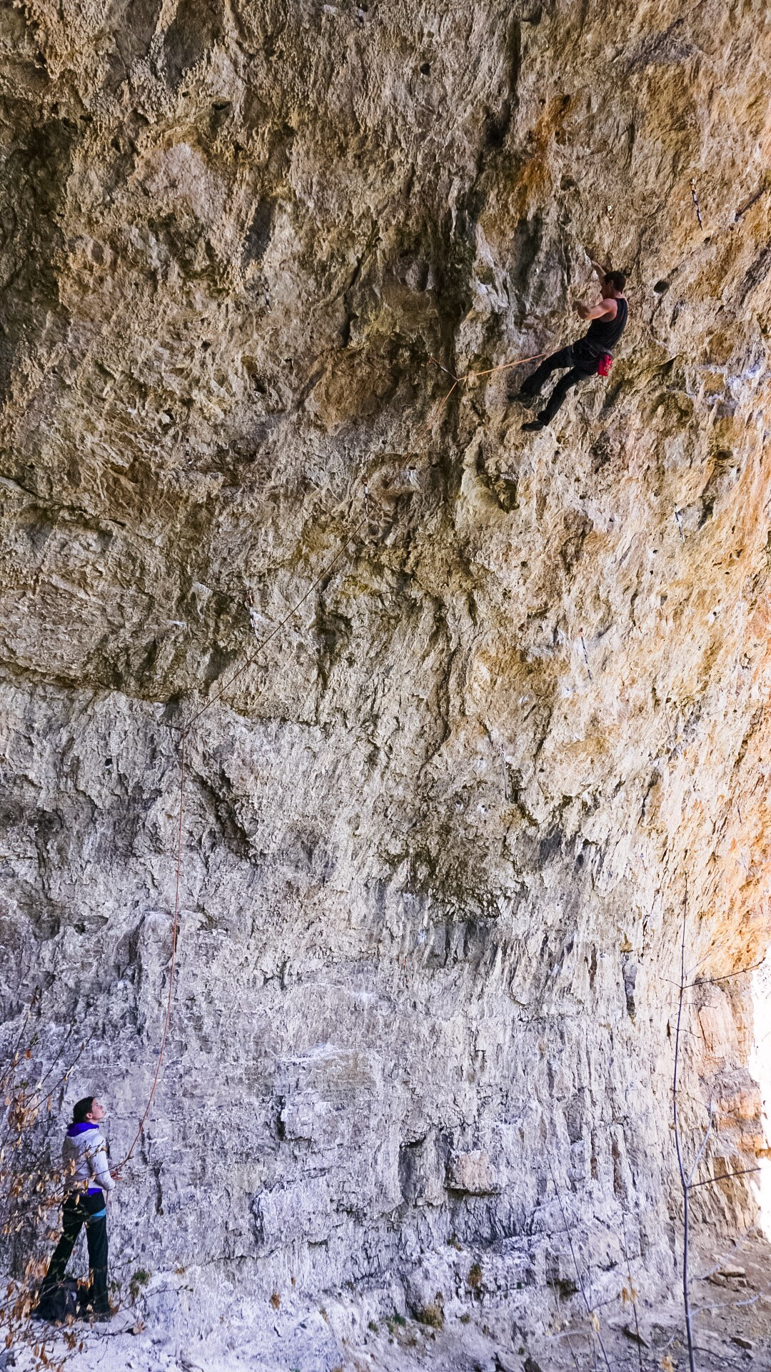 Carlo Traversi, with beta on lock, floating to the top of Bad Girls Club (5.14d), Rifle, Colorado. Photo by Steve Hong.