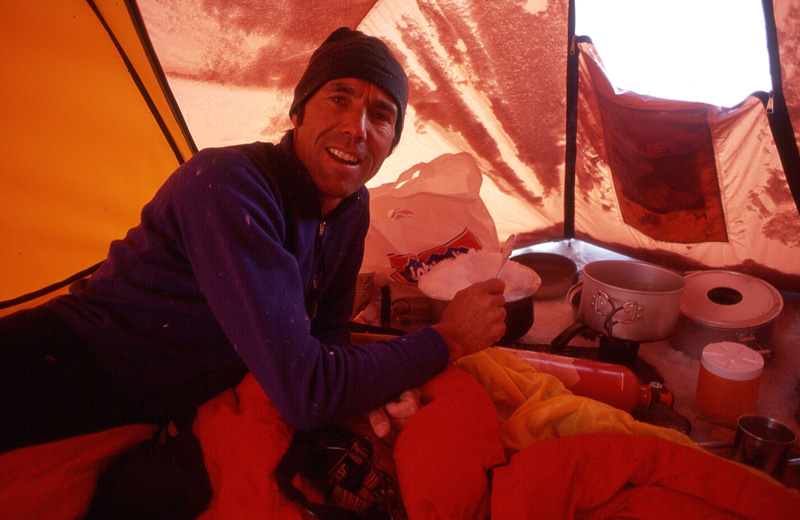 Whimp in the tent at 5500 meters following the alpine-style ascent of the North Face of Jannu, 2000. Photo by Andrew Lindblade.