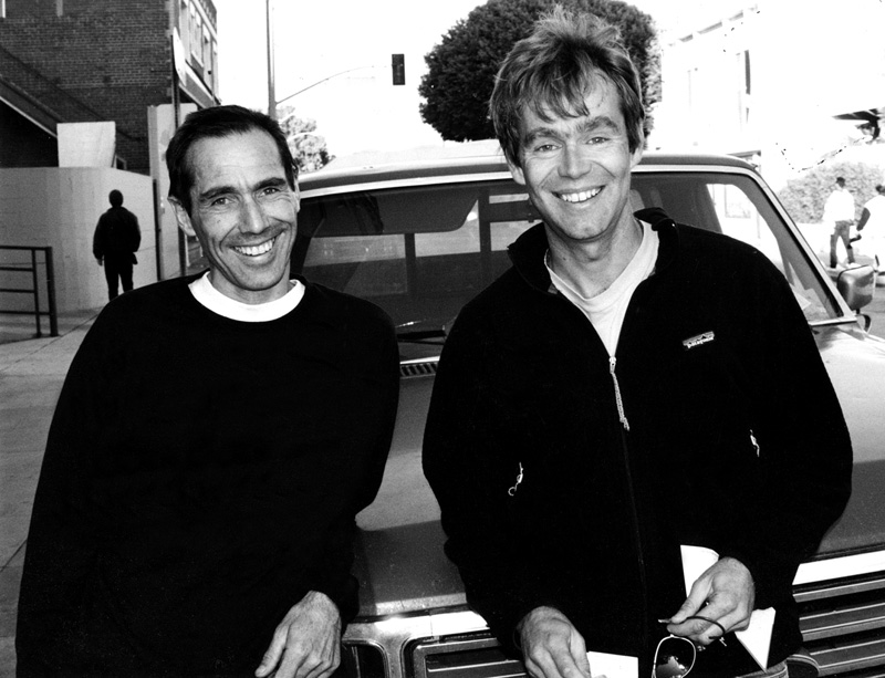 Off season: Whimp with Greg Crouch (alpinist and author) near the boardwalk in Venice, California. Lindblade and Athol Whimp were on their way back to Australia after winning the Piolet d'Or. Photo by Andrew Lindblade.