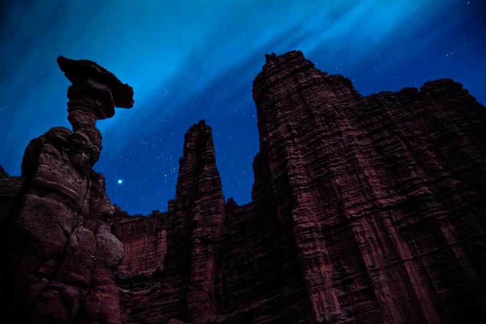The rising Cobra against the night sky, Fisher Towers, Utah desert. Photo: Dan Holz.