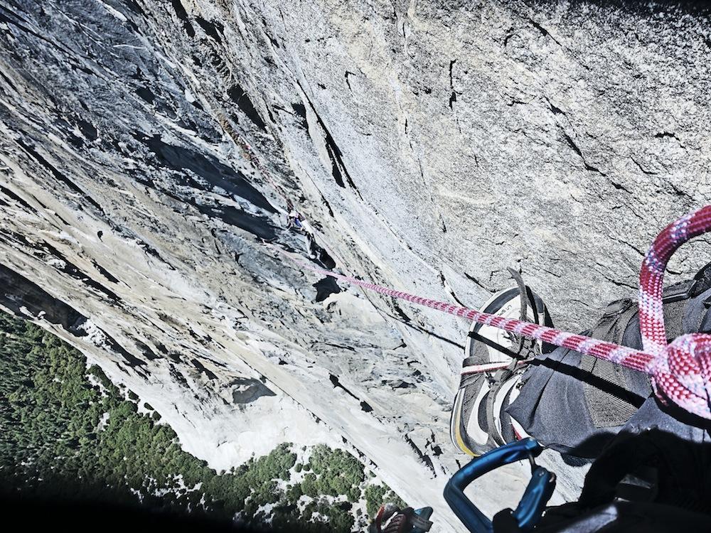 Andy Kirkpatrick solo-aiding his way up the 2,400-foot Sea of Dreams (A4+ 5.9) on El Cap, Yosemite. Photo: Andy Kirkpatrick.