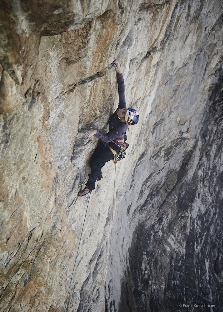 Sasha DiGiulian leading pitch five (7a/5.11d) of La Paciencia. Photo: Frank Kretschmann / adidas Outdoor.