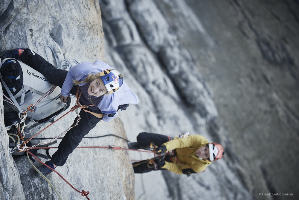 DiGiulian and Traversi, sussing out La Paciencia (5.13b), Eiger North Face. Photo: Frank Kretschmann / adidas Outdoor.