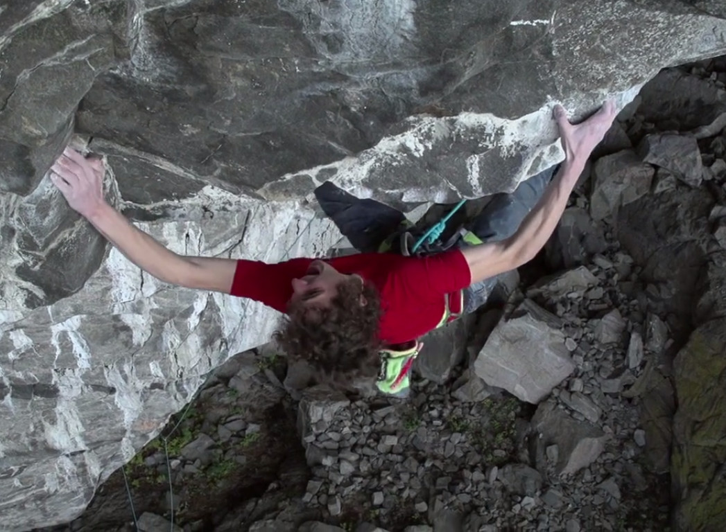 Ondra cruxes out on pitch two of Change. Photo: Screenshot from Black Diamond video below.
