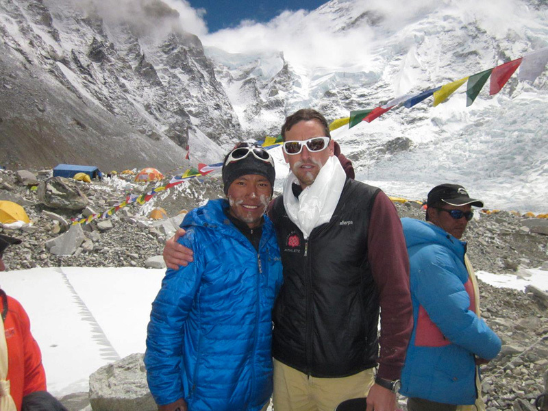 Dorje Gylgen Sherpa and Kenton Cool before setting off for the Khumbu Triple Crown. Photo courtesy of Kenton Cool archive.
