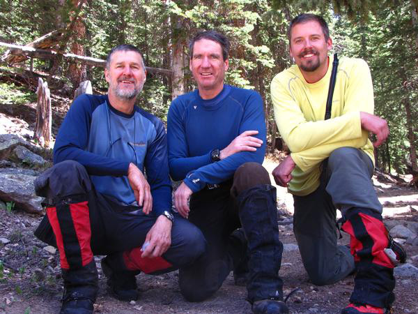 Steve Gladbach, center, with mountain friends. On the left is Britt Jones, and on the right, Josh Friesma.