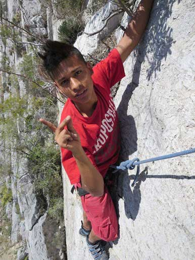 An at-risk youth turned    climber in Mexico.