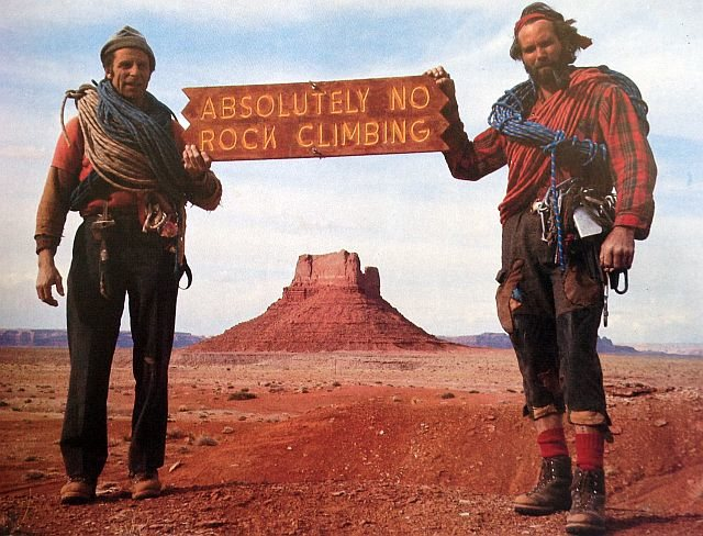 Fred Beckey    (left) and Bjornstad in Monument Valley.