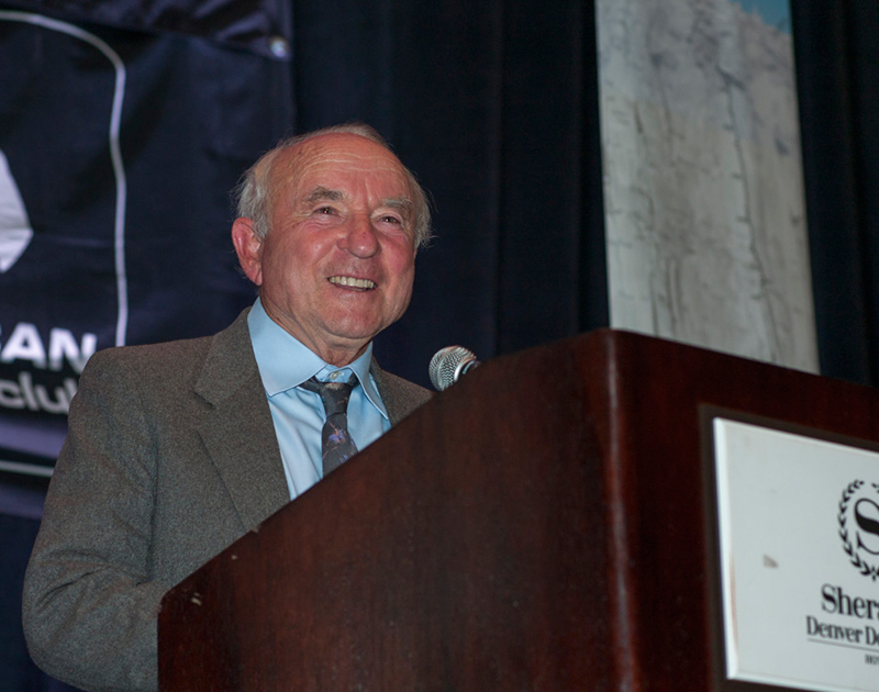 Thanks for the memories. Yvon Chouinard chuckles during his keynote speech at the AAC's Annual Benefit Dinner. Photo by Lee Pruitt.