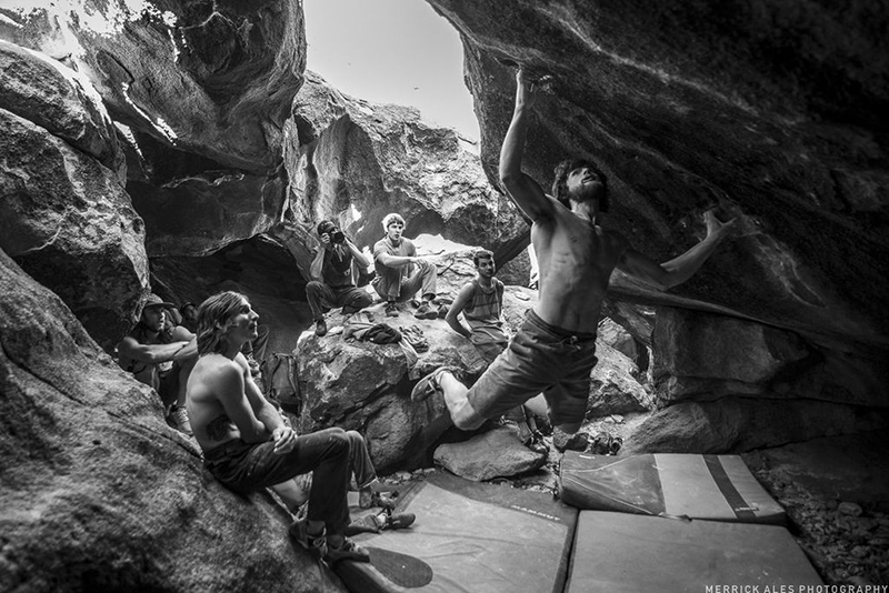 Jimmy Webb sticks the move on <em>Scream</em> (V11). Photo by Merrick Ales.&#8221; />The top six hardest boulder problems completed by a competitor is what the judges were looking for to determine a winner  for the 21st Annual Hueco Rock Rodeo, and in the end, it was Daniel Woods who took first place in the men&#8217;s open category.  In a few hours, Woods climbed <em>50 Shades of Red</em> (V12) for 1290 points, <em>House of Doom</em> (V14) for 1450 points, <em>Crown Royal</em> (V13) for 1330 points, <em>Sugar Ray</em> (V13)&mdash;a project listed on the problem list but done earlier in the day by Jimmy Webb who got the first ascent&mdash;for 1600 points (points were so high because it was undone), <em>The Ugh</em> (V11) for 1150 points, <em>Indisposed Heroes </em>(V12) for 1295 and <em>Scream</em> (V11) for 1150 points. Woods&#8217; top six boulders were tallied, giving him a total of 8115 points, and  86 V-points overall.  </p> <p>Jimmy Webb came in second by climbing <em>50 Shades of Red</em>, the first ascent of the <em>Coeur de Leon</em> project (climbing <em>Coeur de Leon</em> into <em>Troglodyte</em>) now named <em>Sugar Ray</em> (V13) by Webb, <em>The Ugh</em>, <em>The Scream</em>, <em>High Scream</em> (V10) for 1050 points, <em>Windy Ass</em> (V9) for 980 points, and <em>Windy Ass low match start </em>(V10) for 1095 points. Webb&rsquo;s top six problems added up to 7580 points, putting him in second place in points, even though he actually finished with more V points than Woods with 88. </p> <p><img src=