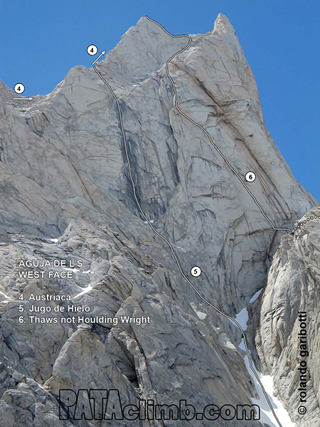 """The <em>Thaw&#39;s Not Houlding Wright</em> is the route on the far right of this photo. Courtesy of Rolando Garibotti."""" title=""""The <em>Thaw&#39;s Not Houlding Wright</em> is the route on the far right of this photo. Courtesy of Rolando Garibotti.""""></p> <p></p> <p><b style="""