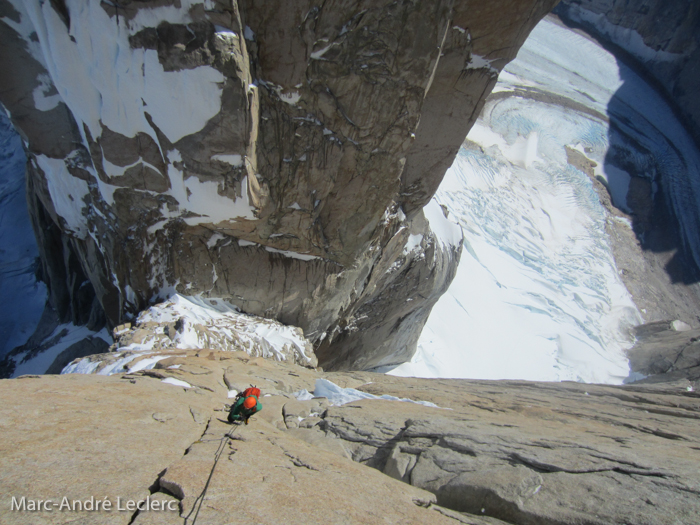 Colin Haley on Directa de la Mentira with Torre Egger in the background. Photo by Marc-André Leclerc.