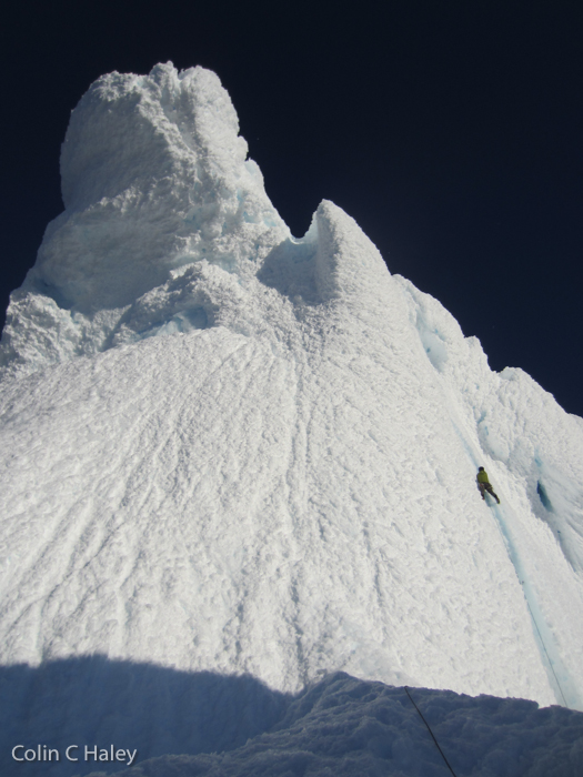Marc-André Leclerc on the summit cone of Cerro Torre. Photo by Colin Haley.