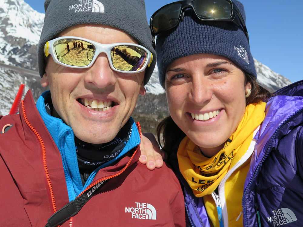 Simone Moro (left) with teammate Tamara Lunger. Photo courtesy of The North Face.