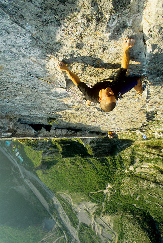 """Kurt Smith follows the Shining Path during the 1994 first ascent of <em>El Sendero Luminoso</em> (5.12c/d). Photo by Jeff Jackson."""">With     the name <em>El Sendero Luminoso</em> flying off the tongues of people worldwide since <a href="""