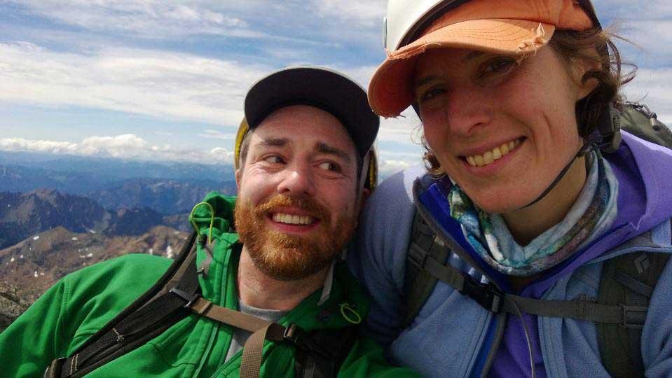 Holly and John Mullally on the summit of Mount Stuart. Photo courtesy Holly Mullally.