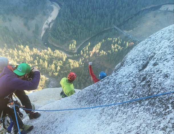 Caldwell (left) and Jorgeson at the finish of the Dawn Wall.    Photo by Alex Honnold.