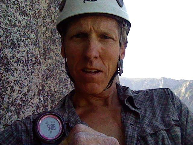 Hans Florine at the top of Mammoth Ledges in three hours and 18 minutes. Photo courtesy of Hans Florine's Facebook.
