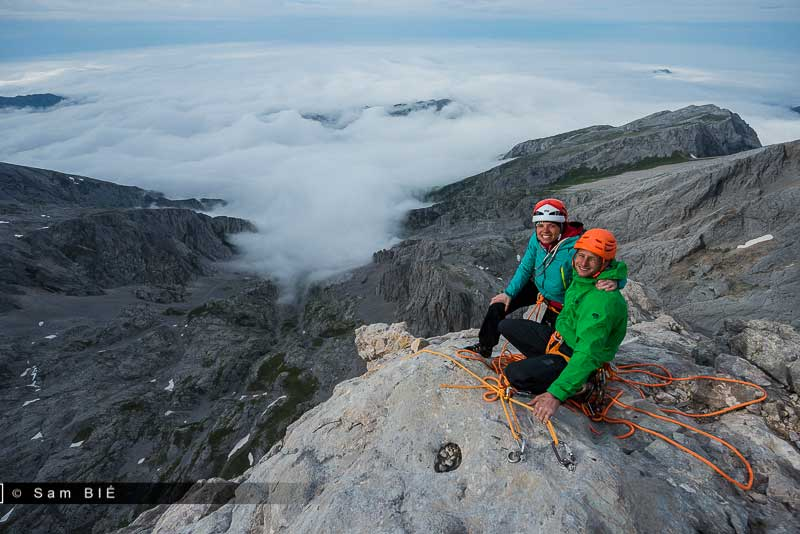 Caprez and Lachat on the summit of <em>Orbayu</em>. Photo by Sam