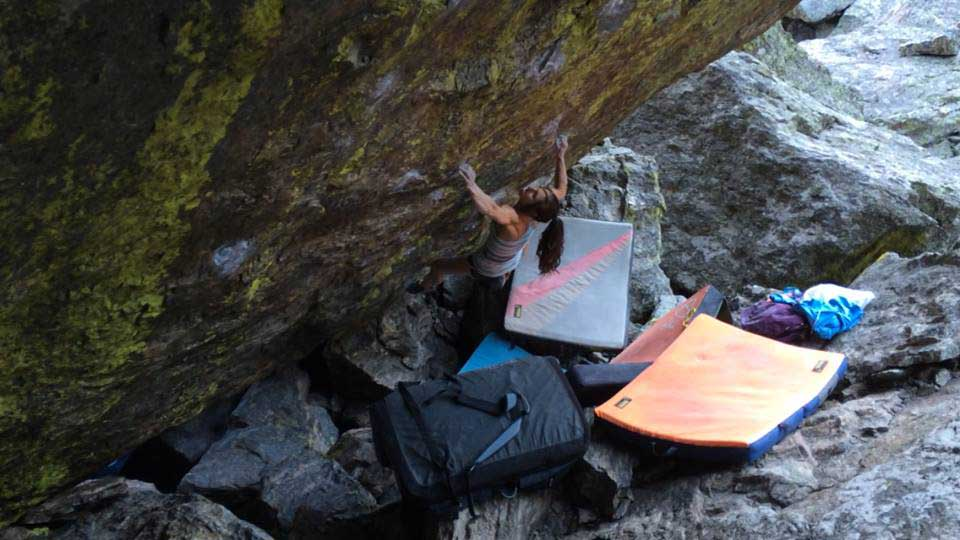 """Puccio sticking the move on <em>Jade</em> (V14). Photo by Joel Zerr."""" />On Saturday, August 2, Alex Puccio became the fourth woman to climb V14 by sending <em>Jade</em> in Colorado's Upper Chaos Canyon, Rocky Mountain National Park.</p> <p>""""SO EXCITED!!!"""" posted Puccio on Facebook. """"Sent <em>Jade</em> 8B+ / V14 today!  It was my fourth day at the climb today and I did it first go.""""</p> <p>Puccio also reports that she nearly climbed the problem on her first day of attempts, but fell on the """"last hold"""" and tore her fingertip. After waiting a few days for good conditions, Puccio finally caught a dry weather-window.</p> <p>""""It finally stopped raining and I had a good dry day, a little warm, but really dry and was able to do it,"""" she posted.</p> <p>Puccio celebrated the hardest send of her career by … climbing another hard problem on same boulder.</p> <p><span style="""