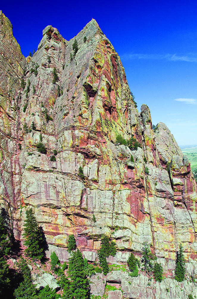 Tower One, Eldorado Canyon State Park, scene of a recent rappelling accident. Photo by Steve Levin.