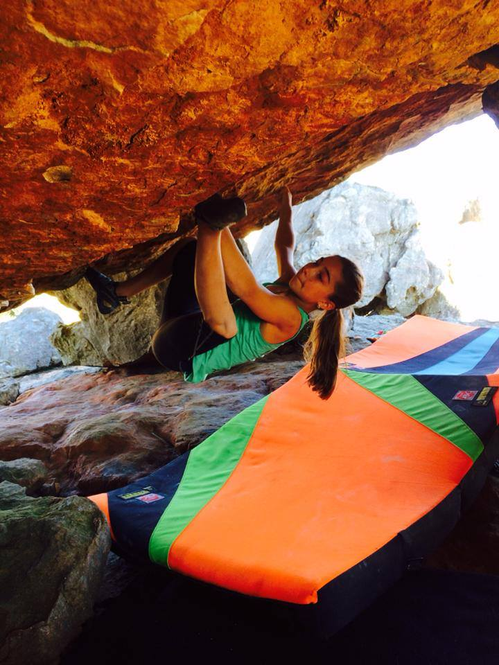 Brooke Raboutou attempting Fragile Steps in Rocklands, South Africa, her first V13. Photo by Robyn Erbesfield-Raboutou.