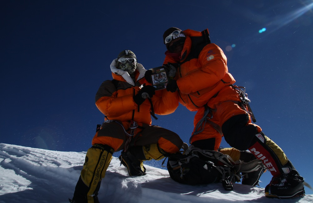 On the summit of Annapurna (8,091 meters; 26,545 feet). Photo: Mingma Sherpa.
