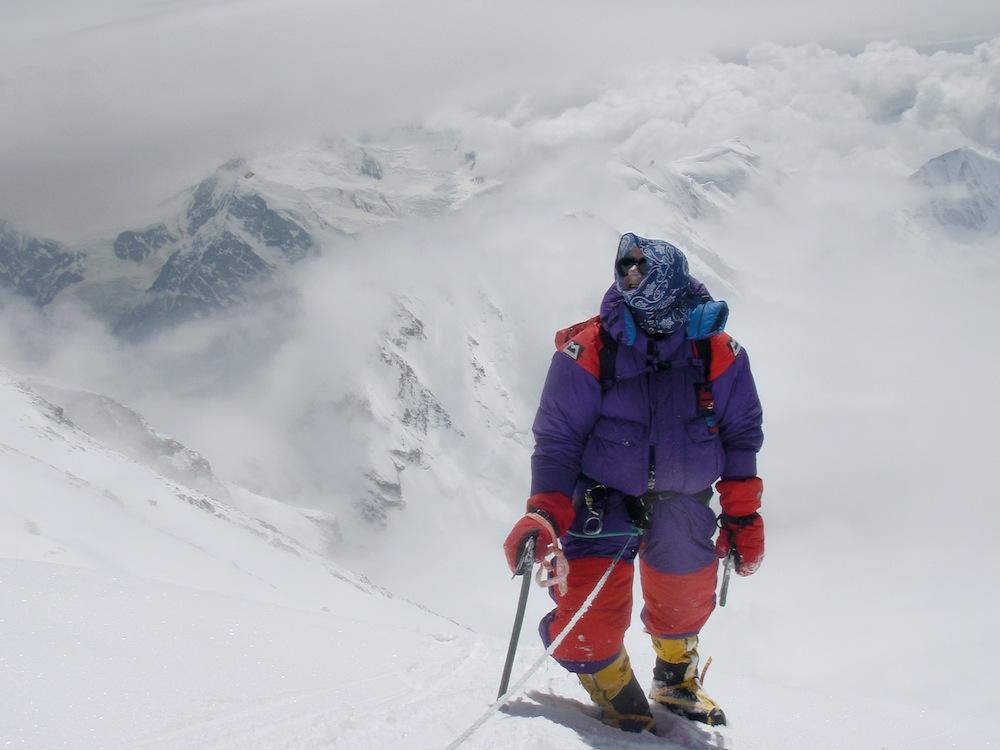 Rick Allen heading for the summit of Nanga Parbat (8,126 metres). Photo: Sandy Allan.