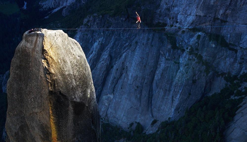 Dean Potter highlining the Lost Arrow Spire, Yosemite National Park. Photo: Jim Hurst.