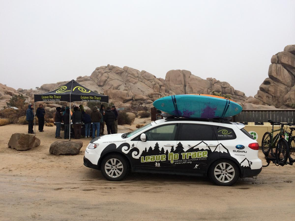 The Subaru/Leave No Trace Traveling Trainers, Pat and TJ Beezley, in Joshua Tree, California.