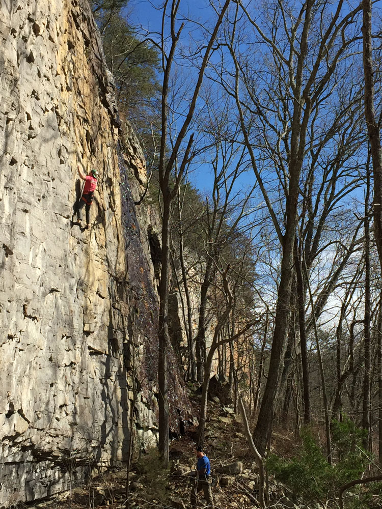 A climber at Denny Cove. Photo: The Access Fund.