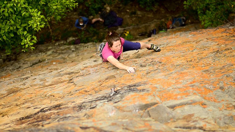 A climber at Denny Cove. Photo: Adam Johnson.