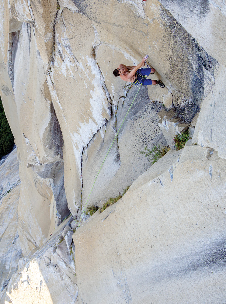 Honnold tops out on the final bolt ladder. Photo: Paul Hara.