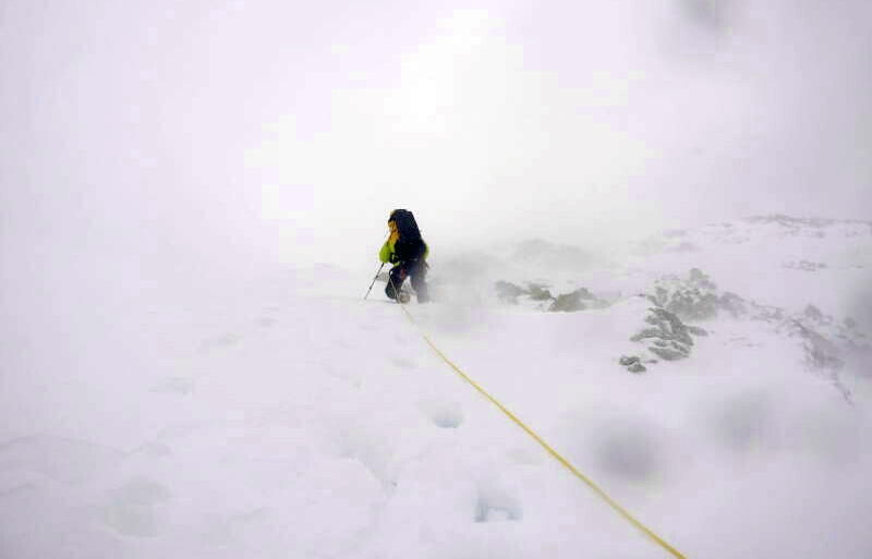 On the way to the summit of Denali in less-than-ideal conditions. Photo courtesy of Tashi Sherpa.