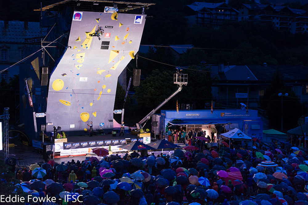 The Finals wall at Briancon, France. Photo: Eddie Fowke / IFSC.
