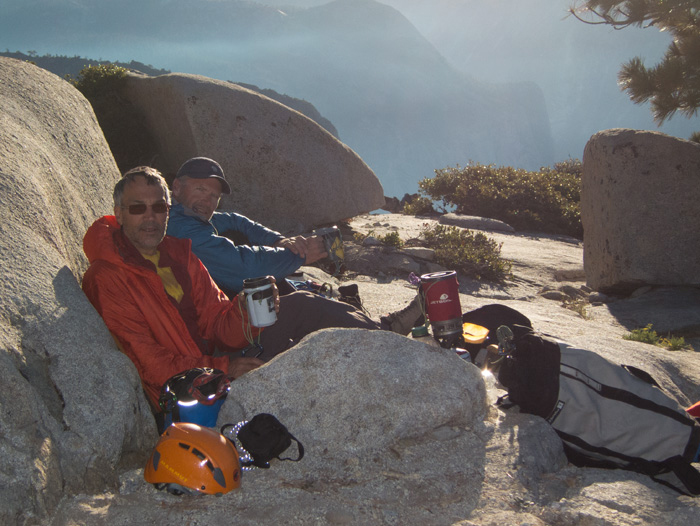 Hudon (left) and Jones, ages 58 and 56, on op of the sustined <em>Reticent Wall</em>, El Capitan, Yosemite, in May. Photo by Mark Hudon.