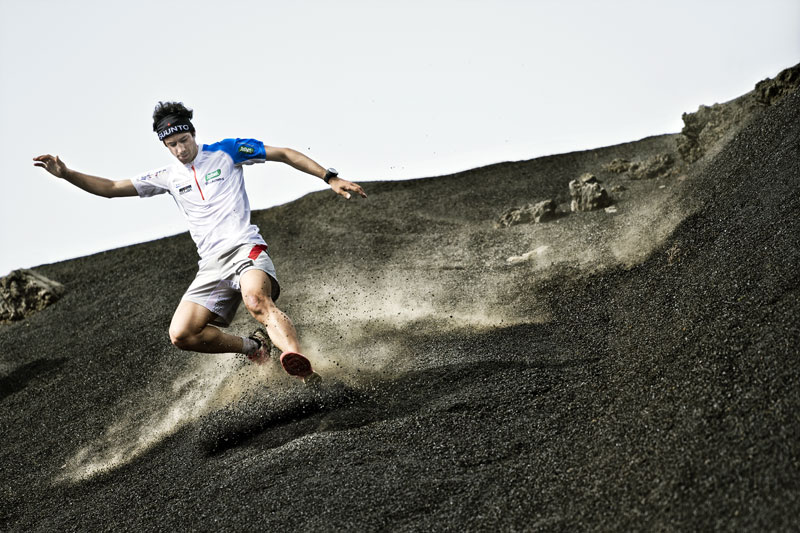Kilian Jornet in La Palma, Spain while training for the Transvulcania Ultramarathon. Photo: Markus Berger.