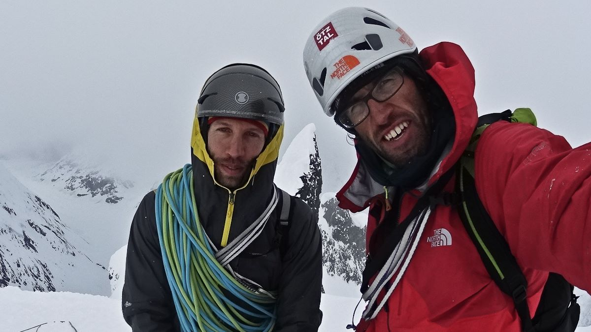 Hansjörg Auer and Much Mayr on the summit of Mount Reaper. Photo courtesy of Hansjörg Auer.